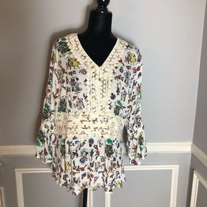 Melissa McCarthy Patterned Tunic w/ Embroidery